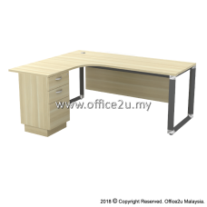 OWL-3D OVERJOY SERIES COMPACT L-SHAPE TABLE WITH FIXED PEDESTAL 2-DRAWERS 1-FILING - WOODEN MODESTY PANEL