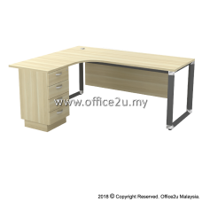 OWL-4D OVERJOY SERIES COMPACT L-SHAPE TABLE WITH FIXED PEDESTAL 4-DRAWERS - WOODEN MODESTY PANEL