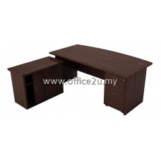 COMBO-EX03 QUINCY SERIES CURVE-FRONT EXECUTIVE TABLE SET WITH SIDE CABINET AND MOBILE PEDESTAL 3-DRAWERS