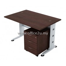 COMBO-Q01 QUINCY SERIES RECTANGULAR METAL J-LEG TABLE SET WITH MOBILE PEDESTAL 3-DRAWERS