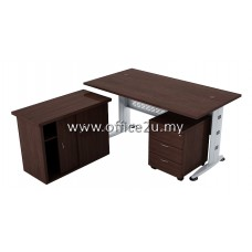 COMBO-Q02 QUINCY SERIES RECTANGULAR METAL J-LEG TABLE SET WITH SIDE CABINET AND MOBILE PEDESTAL 3-DRAWERS