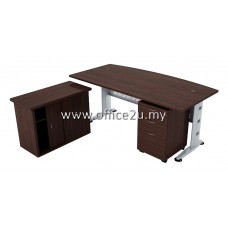 COMBO-Q03 QUINCY SERIES 6FT CURVE-FRONT EXECUTIVE METAL J-LEG TABLE SET WITH SIDE CABINET AND MOBILE PEDESTAL 2-DRAWERS & 1-FILING (2D1F)