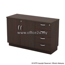 Q-YDP7124 COMBINATION LOW CABINET (SWINGING DOOR + FIXED PEDESTAL 4D)