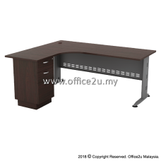 QL-3D QUINCY SERIES COMPACT L-SHAPE METAL J-LEG TABLE SET WITH FIXED PEDESTAL 2-DRAWERS 1-FILING