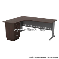 QL-4D QUINCY SERIES COMPACT L-SHAPE METAL J-LEG TABLE SET WITH FIXED PEDESTAL 4-DRAWERS