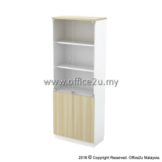 B-YGD21(E) SWINGING GLASS DOOR HIGH CABINET - CHAMFERED EDGE