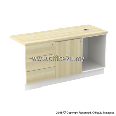 B-YLP1236(E) SIDE CABINET (OPEN SHELF + LEFT SWINGING DOOR + FIXED PEDESTAL 3D)