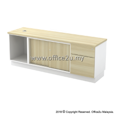 B-YOSP1626(E) SIDE CABINET (OPEN SHELF + SLIDING DOOR + FIXED PEDESTAL 1D1F)