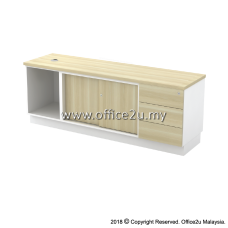 B-YOSP1636(E) SIDE CABINET (OPEN SHELF + SLIDING DOOR + FIXED PEDESTAL 3D)