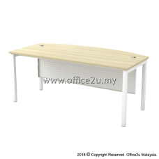 SMB-180A SKYWALK SERIES CURVE-FRONT EXECUTIVE TABLE WITH METAL MODESTY PANEL