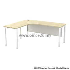 SML SKYWALK SERIES COMPACT L-SHAPE TABLE WITH METAL MODESTY PANEL
