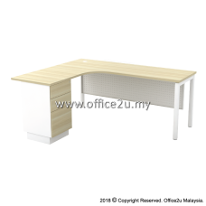 SML-3D SKYWALK SERIES COMPACT L-SHAPE TABLE SET WITH METAL MODESTY PANEL AND FIXED PEDESTAL 2-DRAWERS 1-FILING