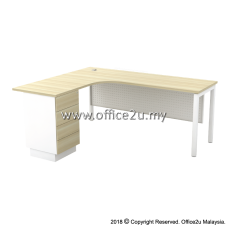 SML-4D SKYWALK SERIES COMPACT L-SHAPE TABLE SET WITH METAL MODESTY PANEL AND FIXED PEDESTAL 4-DRAWERS