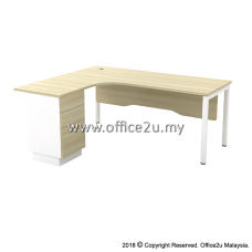 SWL-3D SKYWALK SERIES COMPACT L-SHAPE TABLE SET WITH WOODEN MODESTY PANEL AND FIXED PEDESTAL 2-DRAWERS 1-FILING