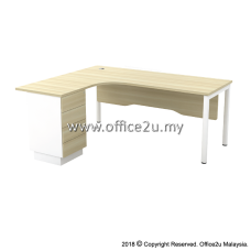 SWL-4D SKYWALK SERIES COMPACT L-SHAPE TABLE SET WITH WOODEN MODESTY PANEL AND FIXED PEDESTAL 4-DRAWERS
